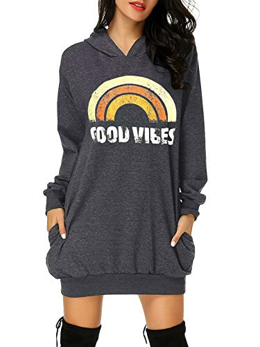 Auxo Damen Hoodie Kleid Pullover Langarm Sweatshirts Kapuzenpullover Tops Regenbogen Herbst Kleid Dunkelgrau Large