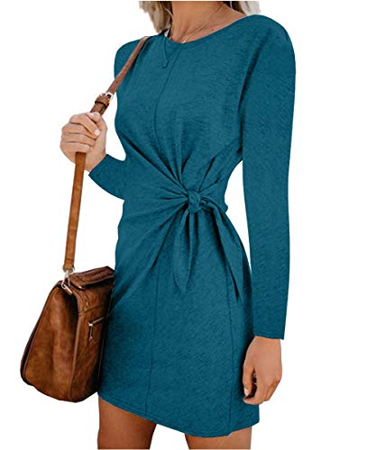 Turnglam Pullover Kleid Damen Oberteil Lang Sweatshirt Oversized Einfarbig Casual Lose Herbst Kleid Pullikleid Strickpullover Sweatkleid Tops  (EU(38-40)/Herstellergröße: L,Grün)