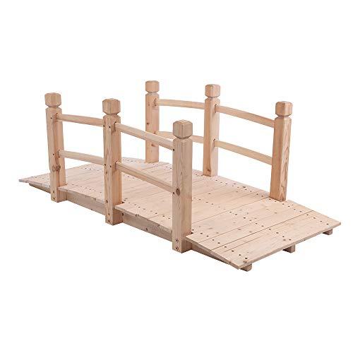 YIERMA Puente de jardín de madera 150x67x56cm al aire libre arroyo estanque adorno madera paisaje puente