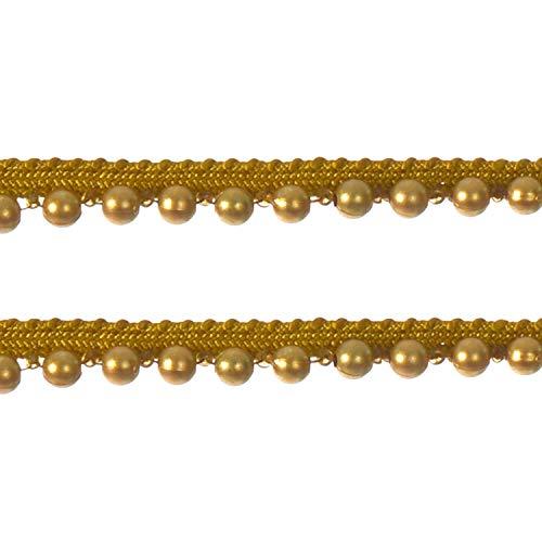 Weddecor 2m x 1.2cm Vintage Stijl Goud Trim Kant Lint met Kralen Parel voor Trim Scrapbooking Applique Versiering Bruiloft en Dames Bruidsjurken