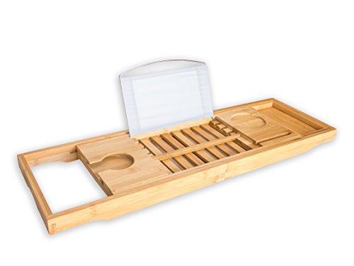 #1 Premium badtafel van bamboe BRUMA voor de badkuip - Badkuipaccessoire met houder voor wijnglas, boeken, tablet en mobiel. 2 jaar garantie