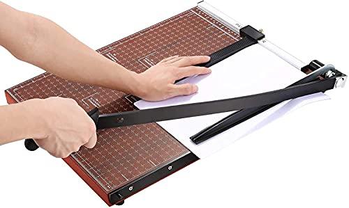A3-B7 Papierschneider Papierschneidemaschine mit Metallbasis, Fotoschneider Hebelschneider Schneidegerät 485mm Schnittlänge 12 Blatt Papier für im Büro oder zu Hause (Braun)