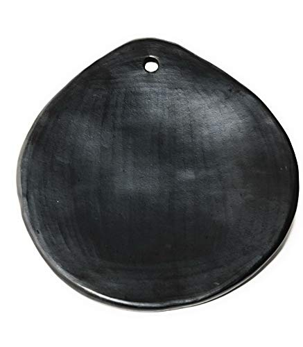 Comal for tortillas 9' Cayana Grill Griddle pan Black Clay, 100% handicraft Organic tableware