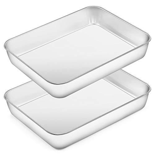 Rectangular Baking Pan Lasagna Pan Set of 2, Deedro 10 Inch Rectangular Cake Pan Stainless Steel Brownie Pan, Deep Baking Pans for Toaster Oven, Healthy & Durable, Brushed Finish & Dishwasher Safe