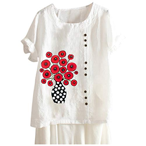 WGNNAA Damen Boho Tunika Geblümt Baumwoll Leinen Tunika Lose Oberseiten Kurzarm Casual Shirt 2020 Sommer Neue T-Shirt Große Größen