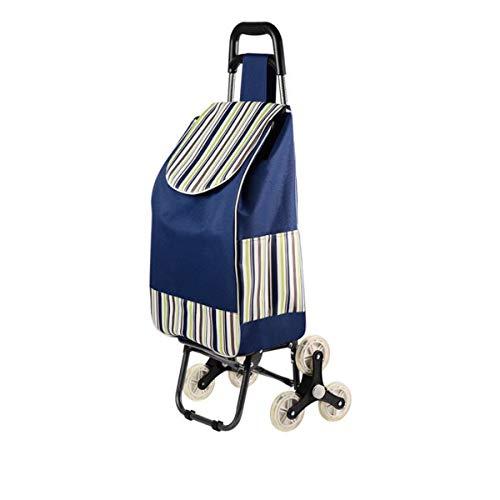 Faltbare Einkaufstrolley Tasche, faltbarer Trolley Cart, 3 Räder, Treppensteigerwagen, faltbar, einfach Treppensteigen, für Shopping, Picknick, Aufbewahrung zu Hause usw. Blau, gestreift