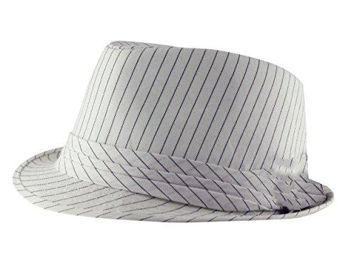 Classique Pour adulte Pinstripe Trilby Fedora Chapeau avec bande (Noir, Marron, Bleu marine, Blanc disponibles) - Blanc - Large