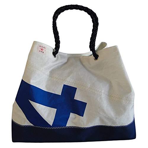 LES TOILES DU LARGE Grand sac Cabas porté à l'épaule Numéro 4 bleu et fond renforcé en taud couleur Navy |...