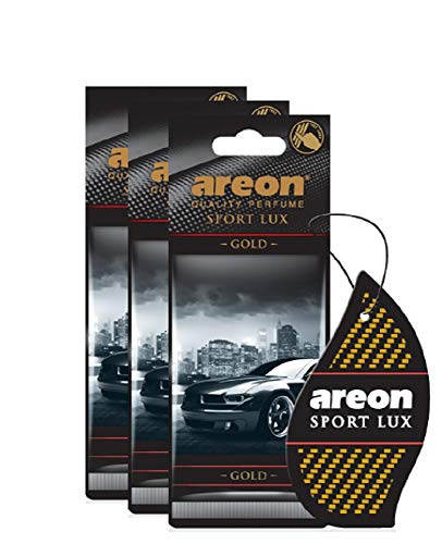 AREON Sport Lux - Hanging Cardboard Air Freshener for Car, Home & Office - Premium Cologne Perfume with Natural Fragrances - Long Lasting, Fresh, Luxurious Scent - Stylish Design - Gold, Pack of 3