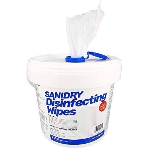 Rosmar SaniDry Disinfecting Wipes, 300 Count, Fresh Scent, White, Nonabrasive, Multi-Surface Cleaning Wipes, for Use in Health Facilities, Schools, Industrial, Food Processing, Household