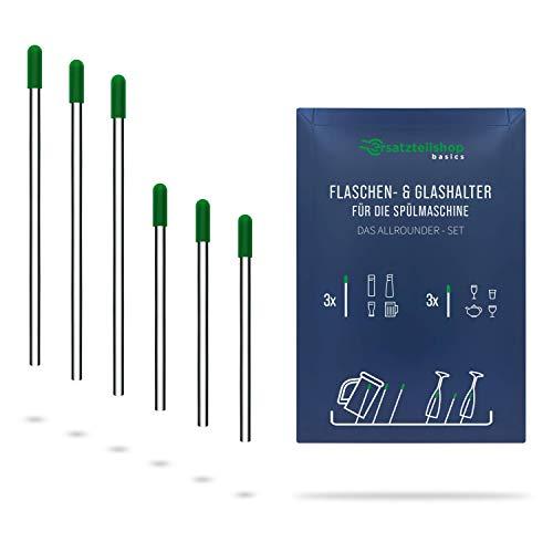 Edelstahl Flaschenhalter und Glashalter für Geschirrspüler/Spülmaschine mit grünen Kappen - Set Allrounder - absolut kratzfrei - von ersatzteilshop basics