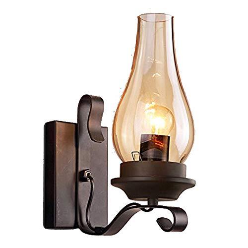 WYQSX Retro Aplique Pared, Base de Metal Pantalla de Vidrio Lámpara de Pared, Lámpara de Noche Luz de Lectura Luz Nocturna, Dormitorio Sala de Estar Pasillo Negro E27 Luces de Pared