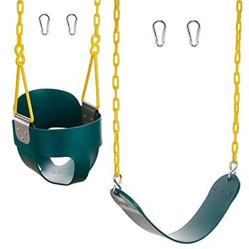 Squirrel Products High Back Full Bucket Swing with Triangle and Chain Dip and Heavy Duty Swing Seat Combo Pack with Carabiners- Blue