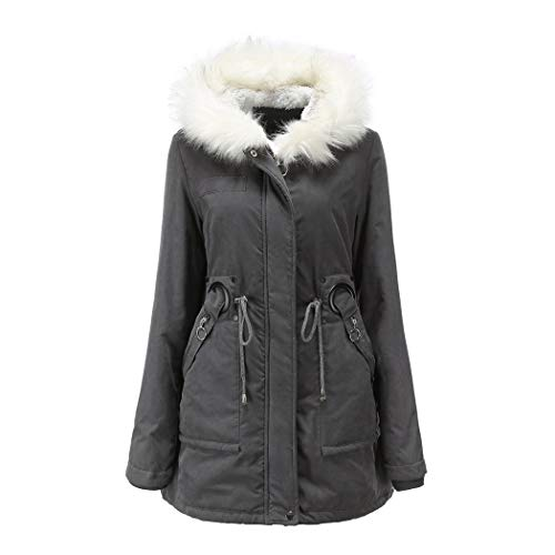 MALPYQ Vrouwen warm fleece jas, medium lang nep bont gevoerde jas