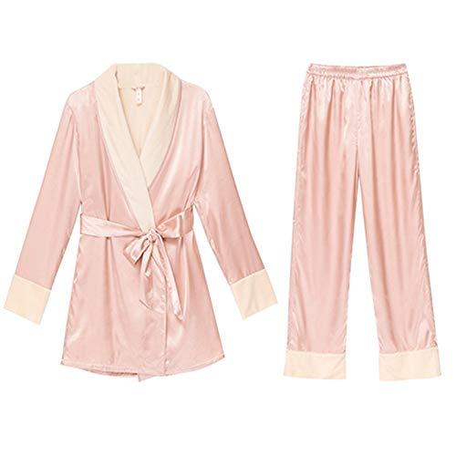 Yamyannie-Clothing Warm Pajamas Set Classic Raso Pajama Set Manica Lunga Pigiami dell'Abito del Vestito for Le Vacanze in Pile 2-Pezzo Pieno Spessore Velluto Seta (Colore : Rosa, Dimensione : M)
