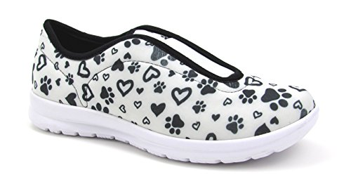 Move Women's Cute Memory Foam Elastic Gore Nursing Shoes - Printed - Florence(9, Paws and Hearts W/B)