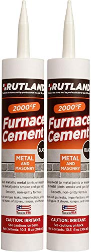 Rutland Products Black, 10.3 fl oz Cartridge Furnace Cement Pack of 2