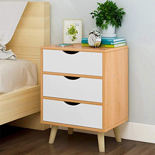 Bedside Table, Nordic Simple Style Bedroom Furniture 3 Drawers Nightstand, Wooden Night Stand Bedroom Locker Storage Bedside Table Easy Assembly - Nordic Pine Color【UK IN STOCK】