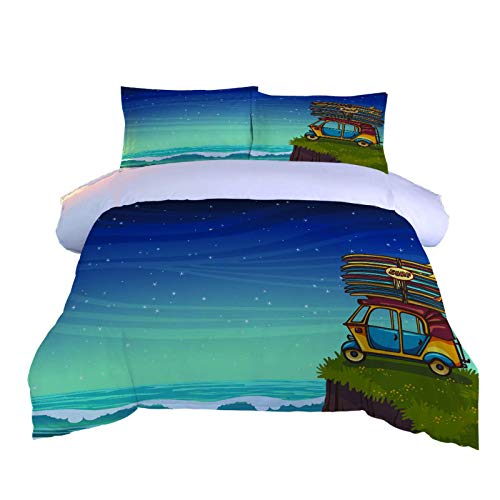 GZMSOL Duvet Cover Set Super King 3 Pieces Starry Sky Cartoon Car Printed Bedding Quilt Cover With Zipper Closure And 2 Pillow Cases Soft Hypoallergenic Microfiber Quilt Cover Sets 260X240Cm