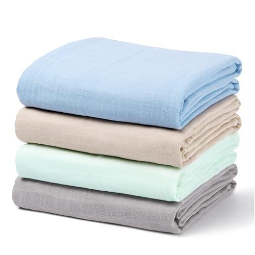 Momcozy - Pañales de muselina de algodón y bambú, 120 cm x 120 cm, 4 unidades, multicolor y agradable para la piel, grandes mantas cuadradas para bebés recién nacidos, algodón orgánico