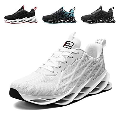 Monrinda Zapatillas Running para Hombre Mujer Zapatos Deportivo Transpirables Casual Gimnasio Correr Sneakers Verde White 42EU