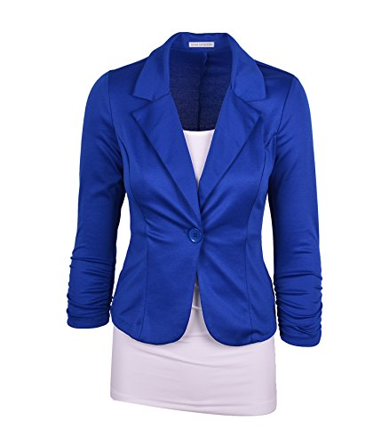 Auliné Collection Women's Casual Work Solid Color Knit Blazer Royal Blue Small