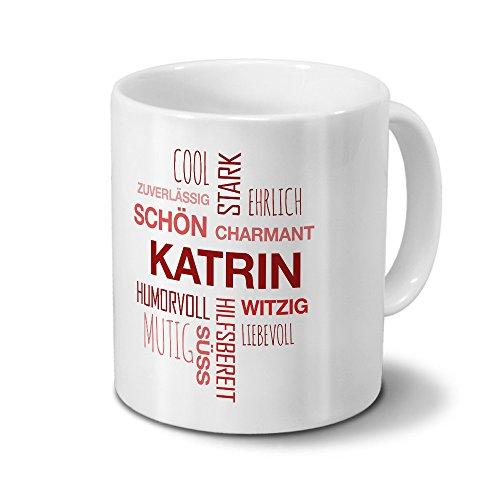 printplanet Tasse mit Namen Katrin Positive Eigenschaften Tagcloud - Rot - Namenstasse, Kaffeebecher, Mug, Becher, Kaffeetasse