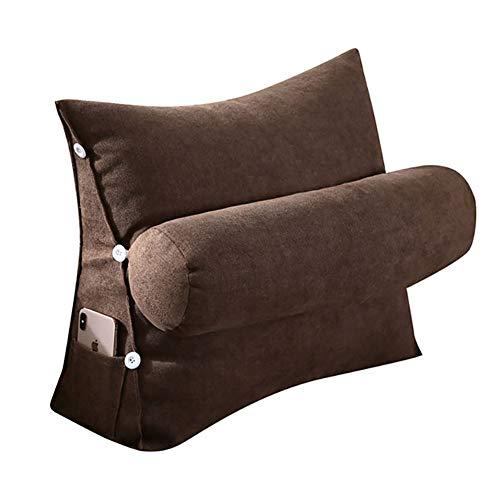 VERCART Kopfkissen Nackenstützkissen Stützkissen Dekokissen Lesekissen Rückenkissen Lesen Couch Sofa Nackenrolle tv Kissen 45cm Kaffeebraun