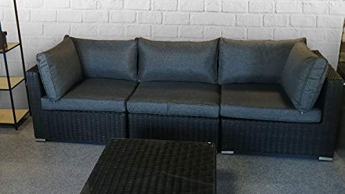 Lifestyle For Home Loungesofa 3-Sitzer Loungemöbel Polyrattan Garnitur Set Flexi Polster grau Garten Terrasse Indoor