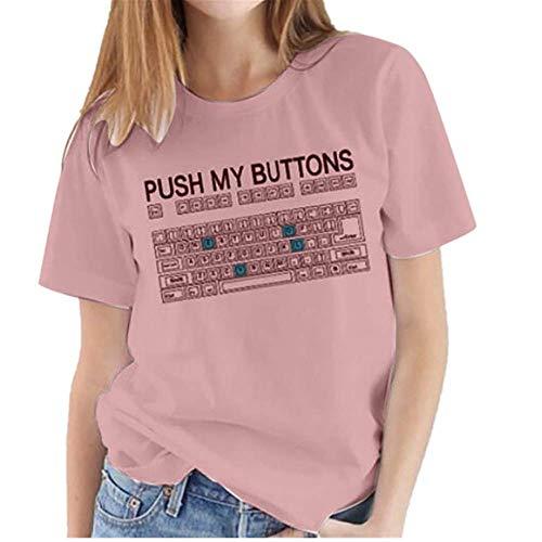 Weant Damen Bluse mit Print Tunika Rundhals Tastatur drucken Funny Sommer T-Shirt Kurzarmshirt V-Ausschnitt Lässige Stretch Falten Bluse Tops Oberteil Baumwollshirt