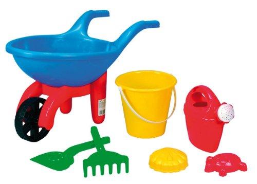 Simba 107135267 - Baby Schubkarre gefüllt, es wird nur ein Artikel geliefert, 7 Teile, Schubkarre, Eimer, 2x Sandform, Schaufel, Rechen, Gießkanne, Länge 49cm, Sandkasten, Sandspielzeug
