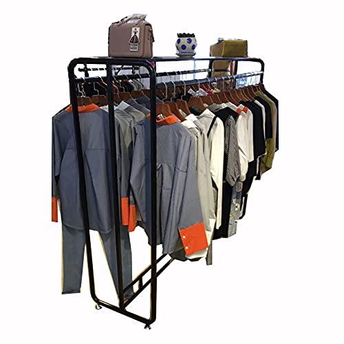 HGJINFANF Estante de ropa de pie para el suelo, soporte de exhibición de ropa al por menor con estante para dormitorio, perchero de metal negro para uso en el hogar/tienda (tamaño: 100 x 50 x 150 cm)