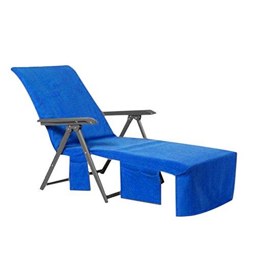 Hongyans Liegestuhlauflage Schonbezug für Gartenliege Liegestuhlauflage Strandtuch für Liegestuhl/Sport Handtuch für Sonnenliege/Lounge Mate/Liegestuhl Bezug mit Seitentasche 215 * 75cm (blau)