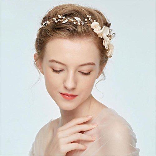 QCBC Hochzeitshaarkranz, Blumenkranz aus Kunstblumen für Braut und Brautjungfer, Hochzeitskopfschmuck mit Blumen