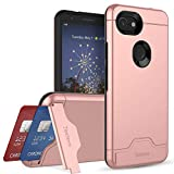 Teelevo Wallet Case for Google Pixel 3a, Dual-Layer Case with Hidden Card Storage and Integrated Kickstand for Google Pixel 3a, Rose Gold