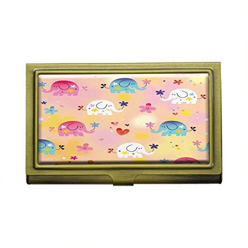 Tarjetero para tarjetas de visita con diseño de elefantes de bebé, de metal y bronce, de acero inoxidable, para tarjetas de visita, tarjetas de crédito, tarjetas de identificación, organizador