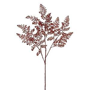 Arcadia Silk Plantation 33″ Glittered Maidenhair Fern Spray Red (Pack of 12)