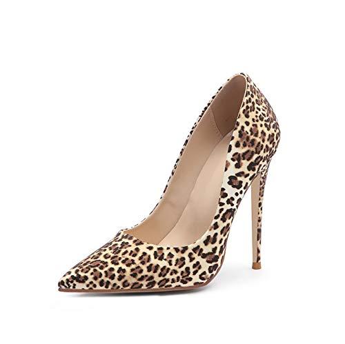 GSYNXYYA Mujer Tacones Alto, 12 cm Primavera/de Verano Punto de Punta Femenina Casual tacón Alto, Moda Bombas Sexy Leopardo Solo Zapatos (Deslizante), Suela de Goma,Marrón,36 EU