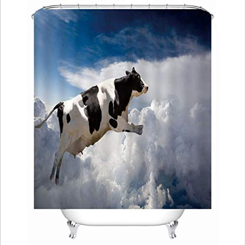 LGXINGLIyidian Kreative Fliegende Kuh Wasserdicht Polyester Duschvorhang Digital 3D Druck Antibakterielle Mehltaubeweis Vorhang 90X180 cm