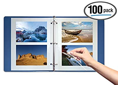 Better Office Products 100 Count Photo Mounting Sheets, 11 x 9 Inches, Double-Sided, 3-Hole Punched, Refill Photo Album Sheets, Replacement Photo Album Sheets, Box of 100