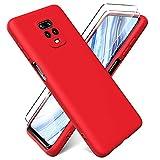 Oududianzi - Funda para Xiaomi Redmi Note 9S / Note 9 Pro + [2 Pack] Protector Pantalla, Carcasa de Silicona Líquida Gel Ultra Suave Funda con tapete de Microfibra Anti-Rasguño - Rojo