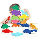 TROJOY Toys for 2-5 Year Old Boys, Large Dinosaur Toys Wooden Stacking Games for Boys Gifts for 2 3 4 Year Old Boys Girl Montessori Stem Boy Toys Birthday Toys for Kids Toddlers Age 2-4