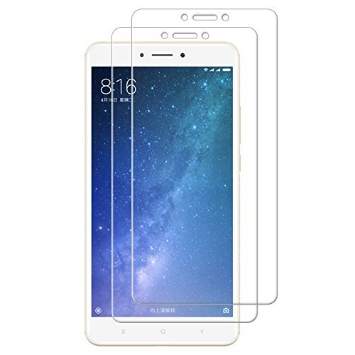 iCoverCase XiaoMi Mi Max 2 Screen Protector [2 Pack] HD Hard Tempered Glass Ultra Clear Shatter Proof Screen Protector [Case Friendly] [Easy Install] [Anti-Scratch] for XiaoMi Mi Max 2