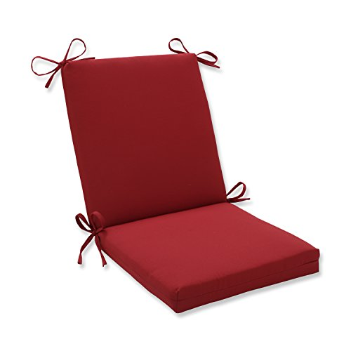 Pillow Perfect Outdoor/Indoor Pompeii Square Corner Chair Cushion, 36.5' x 18', Red