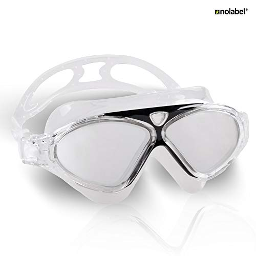 NO LABEL - Gafas de natación para adultos, antiarañazos, máscara suave, agua abierta, Iron Man, Transparente/negro.