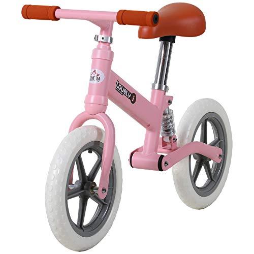 HOMCOM Kinder Laufrad, Lauflernrad mit Stoßdämpfer, Balance Bike, Kinderrad, 2-5 Jahre, Sitzhöhenverstellbar, PP, Rosa, 85 x 36 x 54 cm