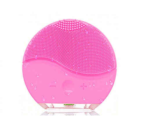 MEBAO Facial Cleansing Brush, Sonic Vibration Facial Brush, Waterproof Face Brush for Deep Cleaning, Gentle Exfoliating, Blackhead Removing and Massaging(Pink)