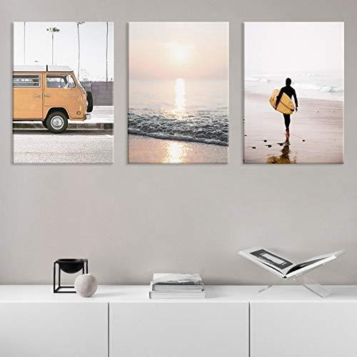 SHENLANYU Modern Seaside Beach Tabla de Surf Paisaje Impresiones en Lienzo Carteles e Impresiones Imagen de Arte de Pared Sala de Estar Decoración del hogar 19.6'x 27.5' (50x70cm) Sin Marco × 3