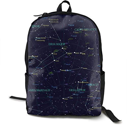 Mochila de día Constellation de Starry Sky con Correas Acolchadas, Mochila de Viaje y Deportiva Mochila de Gran Capacidad College School Bookbag Multiusos antirrobo para niños niñas