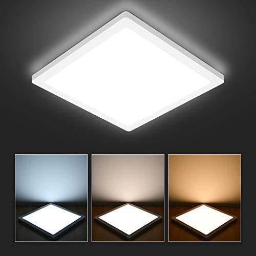 Hidixon LED Deckenleuchte Quadrat, 24W 2200LM IP44 Wasserdicht Flach Deckenlampe 3000K/4000K/6000K 3 Farbig, Ø29*H1.5cm LED Panel Lampen für Badezimmer Flur Küche Wohnzimmer Schlafzimmer Balkon